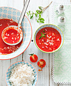 Tomato soup with rice and marjoram