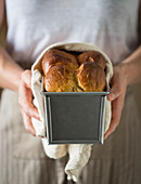 Brioche in baking tin