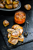 Curd cookies and apricot jam with lavender
