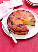 Nectarine and blueberry upside-down cake