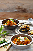 Potato goulash with grilled aubergines