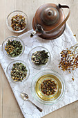 Various herbal teas with woman