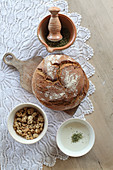 Herb powder with yoghurt, bread and muesli