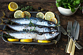 Mackerel backed with thyme and lemon