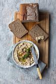 Rye bread with homemade hummus