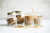 Various edible insects in screw-top jars: grasshoppers, buffalo worms, mealworms and buffalo worm flour