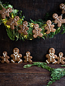 A gingerbread man wreath decoration