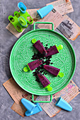 Blueberry ice lollies