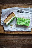 Apple cream cake topped with green jelly (vegan)