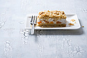 A slice of vegan tangerine crumble cake