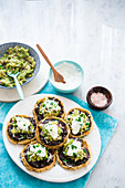 Vegetarian bean tart with guacamole