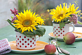 Spätsommer Tischdeko mit Sonnenblumen
