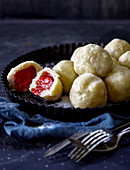 Strawberry dumplings made with potato dough