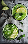 Basil and cucumber lemonade
