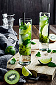 Kiwi and lime mojito
