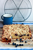 Blueberry crumble blondies, sliced