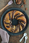 Chocolate Babka with pecan nuts