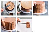 Schokoladen-Buttercremetorte mit Schokoladendeko zubereiten