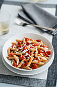 Penne Pasta with cherry tomatoes and cheese