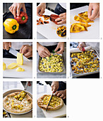Preparing Pizza with Roasted Sweet Peppers, Potatoes and Roccaverano Robiola Cheese