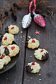 Shortbread biscuits with candied cherries
