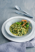 Spinach Curry Risotto with King Prawns