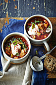 Pork, bean and kale goulash soup