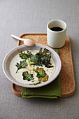 Parmesan Cheese Soup with Crispy Vegetable Leaves