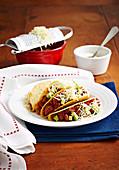 Bean and sausage tacos