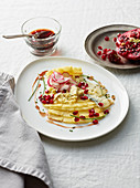 Pineapple Carpaccio with Pomegranate Radishes and Blue Cheese
