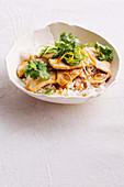 Velvet chicken with coriander