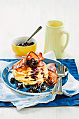 Coconut pancakes with maple blueberries