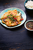 Haemul Pajeon (Pfannkuchen mit Meeresfrüchten, Korea)