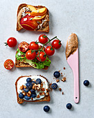 Three toasted varieties: nectarines, tomatoes, and blueberries