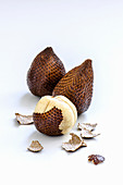 Exotic fruit salak on white background