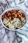 Swiss chard and ricotta pasta with mushrooms