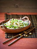 Chinese cabbage salad with Mie noodles and peanuts (Asia)