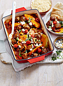 Roast Keftethes with Pumpkin and Feta