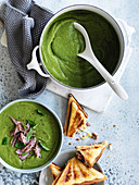 Spilt pea soup with ham and cheddar jaffles