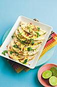 Prawn and avocado quesadillas