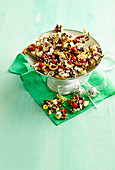 Christmas Crunch with pretzels, popcorn and chocolate