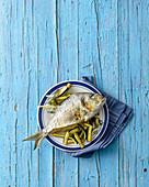 Sea bream filled with ricotta and zucchini