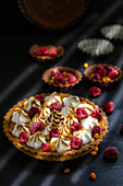 Sea buckthorn tart with chocolate