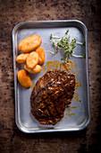 Grilled Rib Eye Steak with Fried Potatoes