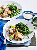 Salmon Patties with chargrilled broccolini