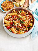 Chorizo and Eggplant Rigatoni with Haloumi Croutons