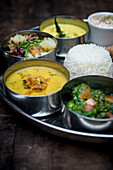 Vegetarian thali with rice (India)