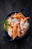 Chicken and shrimp fricassee