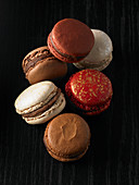 Macarons on a dark background