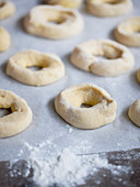 Raw yeast dough rings